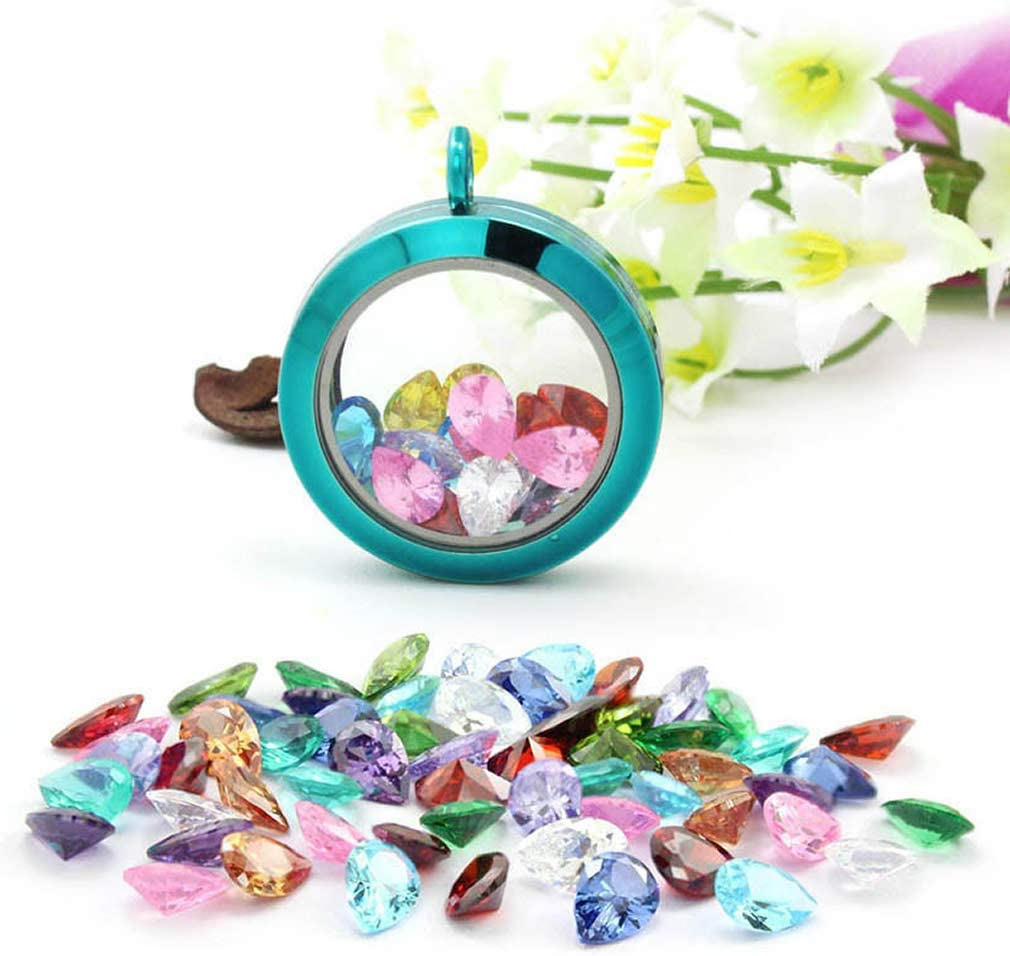 Oval CZ Cubic Zirconia Birthstones 5mm Floating Charms Crystal Set of 24 for Glass Floating Memory Lockets Pendant Necklace