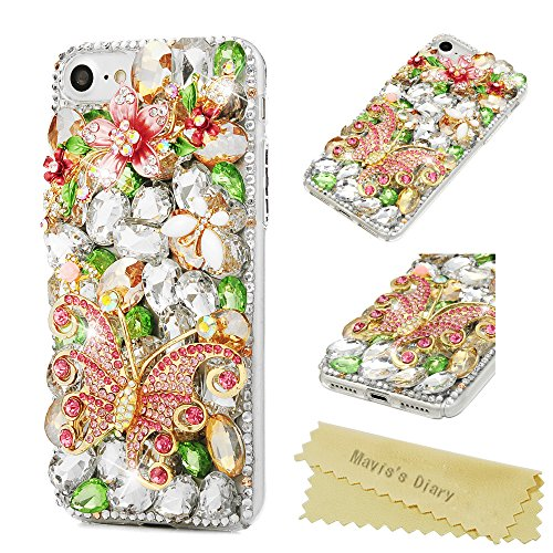 Mavis's Diary iPhone 7 Case, iPhone 8 Case Luxury 3D Handmade Bling Crystal Rhinestone Diamonds Lovely Shiny Sparkling Gems [Full Edge Protection] Clear Hard PC Cover - Big Butterfly