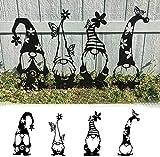 Gartenzwerge, Stahl-Zwerge, Dekoration, niedliche stehende Silhouette für Haus, Garten, Hof – 4 Stück