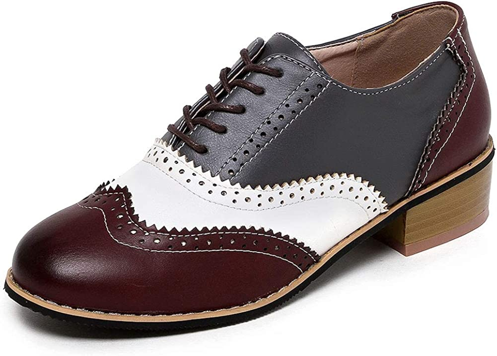 VIMISAOI Direct stock discount Women's Perforated Wingtip Lace Low H Today's only Oxfords Up Chunky