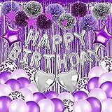 Decoración de cumpleaños niña morado, pancarta de globo de papel de aluminio de feliz cumpleaños, globo morado, cortina de purpurina, decoración morada para fiesta, cumpleaños, boda