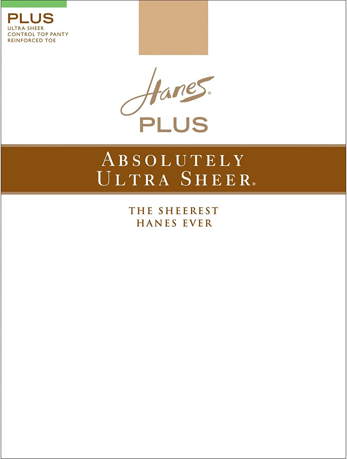 Hanes 00P30 Plus ABsolutely Ultra Sheer Control Top44; Reinforced Toe Pantyhose Size 1P44; Barely Black