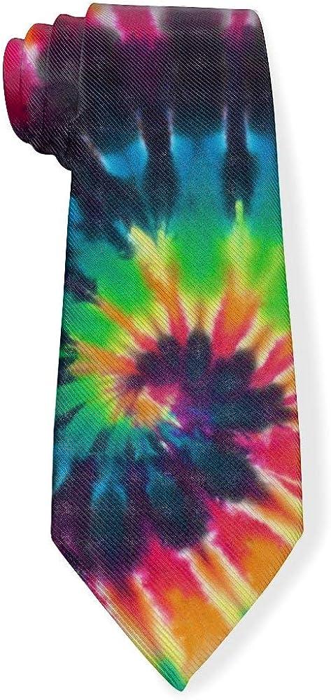 Colorful Swirl Tie Dye Mens Classic Color Slim Tie, Men's Neckties, Fashion Boys Cravats