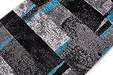 Tapiso JAWA Läufer Teppich Flur Brücke Meliert Modern Kurzflor Grau Schwarz Blau Viereck Streifen Muster Designer Wohnzimmer ÖKOTEX 100 x 560 cm - 6
