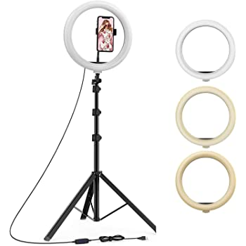 "Marklif 12 Inches Big LED Ring Light for Camera, Phone tiktok YouTube Video Shooting and Makeup, 12"" inch Ring Light with 7 Feet Long Foldable and Lightweight Tripod Stand"