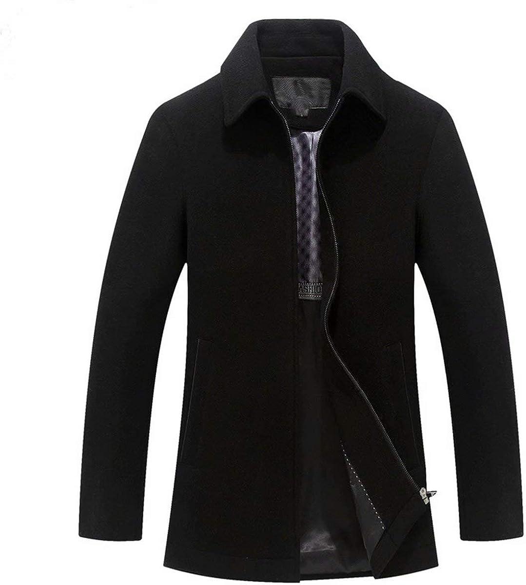Men's Wool Coat Winter Warm Jacket Stand Collar Woolen Blend Quilted Lined Short Overcoat