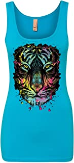 Neon Dripping Tiger Face Tank Top Wildlife Rave Music Top