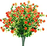 Artificial Flowers Artificial Plants Fake Flowers Fake Plants UV Resistant Plastic Plants for Outdoor Indooror ,Garden,Weeding Decoration, Red(7 Pack)