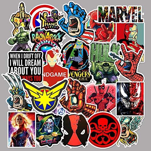 XIAMU Película superhéroe para MarvelAnime Dibujos Animados Viaje Equipaje Carrito Ordenador portátil Pegatina Juguete 50 unids/Pack