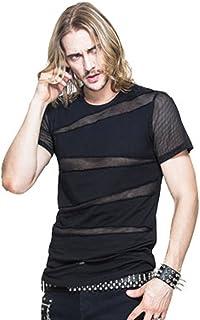 Devil Fashion Punk Men Mesh T Shirt Gothic Short Sleeve Tee Shirts Transparent Casual Tops