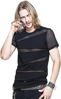 Punk Men Mesh T Shirt Gothic Short Sleeve Tee Shirts Transparent Casual Tops