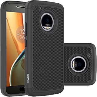 OEAGO Moto G5 Plus Case, Moto G Plus (5th Generation) Case, [Shockproof] [Impact Protection] Hybrid Dual Layer Defender Protective Case Cover for Motorola Moto G5 Plus/Moto G Plus (5th Gen) - Black