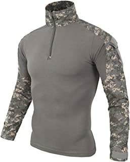 QCHENG Men's Tactical Airsoft Shirt Military Tactical BDU Combat Shirt Assault Long Sleeve Slim Fit T-Shirt Camouflage Out...
