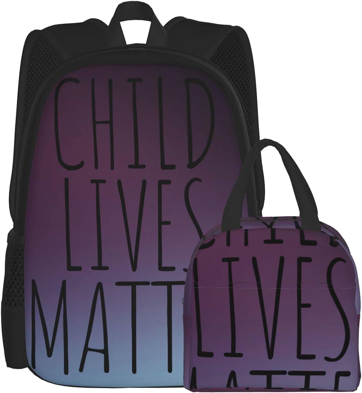 OYQGEJGPJA 2-Piece Set Child Lives Detroit Mall Schoolbag Backpack 2 Deluxe Matter