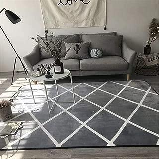 PLAIXP Alfombra Shaggy De Pelo Largo para Salón para Salón Habitación De Los Niños Dormitorio,Alfombra De Dibujos Geométricos-80X160Cm