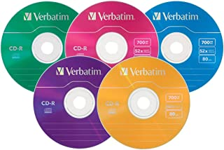 Verbatim 94611 CD-R 700MB 52X with Color Branded Surface - 25pk Slim Case, Assorted