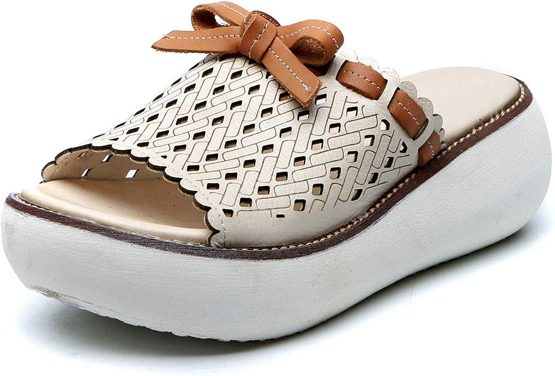 DoraTasia Women's Summer Vintage Platform Slipper-Comfy Leather Open Toe Mule Slip On Sandal-Sweet Bowtie Hollow Out Slide shoes