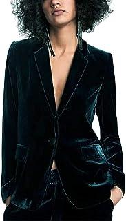 Uranus Women¡¯s Velvet Blazer One Button Lapels Slim Fit Casual Business Work Jacket Suit Coat