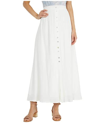Cupcakes and Cashmere Lula Viscose Slub Natural Waist Button-Down Maxi Skirt with Elastic Waist (Marshmallow) Women