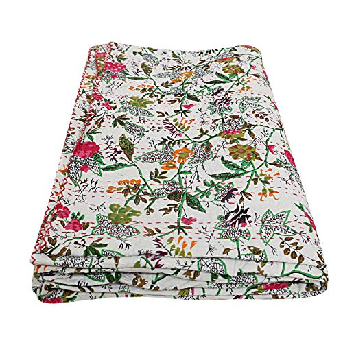 Indian-Shoppers Kantha Quilts Boho blanco y verde floral impresión manta manta india doble ropa de cama colcha bohemia reversible hecha a mano Kantha colcha Living Art