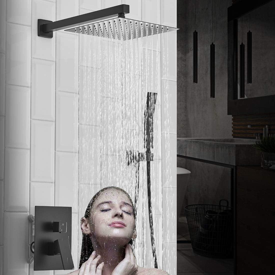20 Inch Rain Shower System Matte Black Bathroom Shower Faucet Set Complete  Bathtub Shower Combo Matte Black Luxury Shower Fixtures Pressure Balance ...