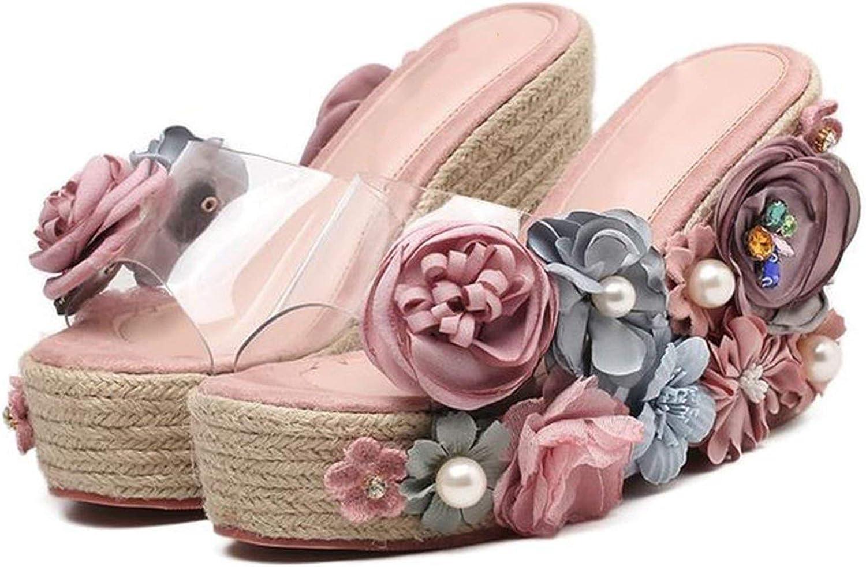 Flower Pearl Pink Super High Heel Women Slippers Summer Crystal Wedge Platform Slides