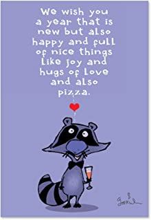 New Year Raccoon - Set of 12 Happy New Year Greeting Cards with Envelopes (4.63 x 6.75 Inch) - Wildlife Greetings, Funny A...
