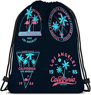 Jiuerlius3 Lightweight Hiking Swimming Beach Drawstring Backpack Bag Vintage Badges Emblems Set California Prints Collection Apparel Labels Patches Vintage t