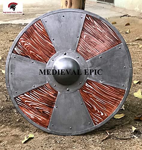 Escudo redondo de madera medieval con cruz vikingos escudo �