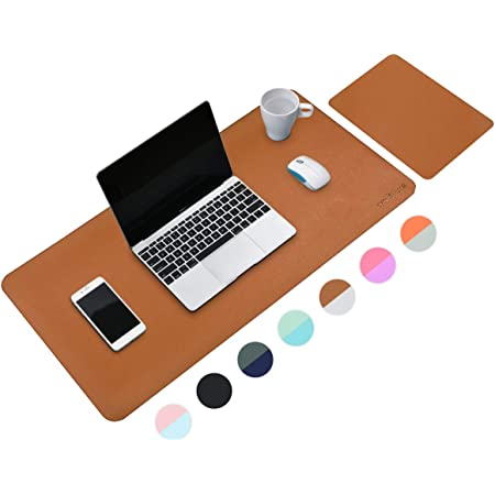 Mouse Mat, Mouse Pad Large, Desk Mat, XL Desk Pads Dual-Sided Brown/Gray, 40cm x 80cm+ 20cm x 28cm PU Leather Mousepad 2 Pack, Mouse Pad for Laptop, Home Office Table Protector Blotter Gifts