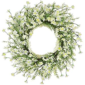 21 Inch Artificial Peach Blossom Flower with Berry Green Leave Wreath for Spring and Summer Indoor Outdoor Decoration