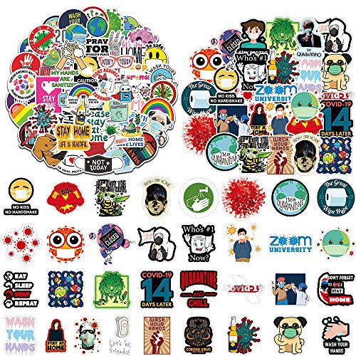 JTHRA 100pcs Silly Germ Stickers, Covid 19 Stickers for Hydro Flask Ins Vinyl Sticker for Laptop Cups Phone Refrigerator Case Computer Bathroom Classroom Wall