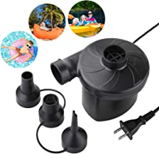 Deyace Electric Air Pump, Air Mattress Pump for Inflatable Blow up Pool Raft Bed Boat Toy Exercise Ball, Quick-Fill AC Inflator Deflator with 3 Nozzles, 110-120 Volt (2019 Black)
