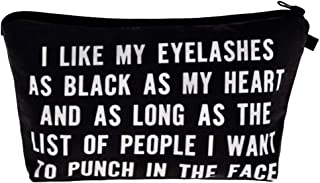 I Like My Eyelashes As Black As My Heart - Funny Mascara Makeup Bag With Saying For Women Cosmetics Toiletry and Travel Cu...