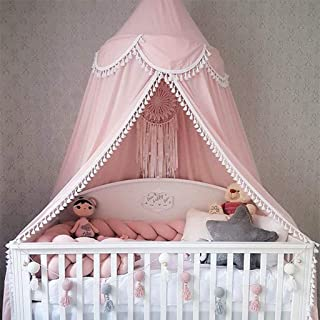 Bed Canopy Round Dome, Chiffon Mosquito Net Indoor Outdoor Playing Reading Tent Bedroom Decoration for Baby Kids Room (Pink)