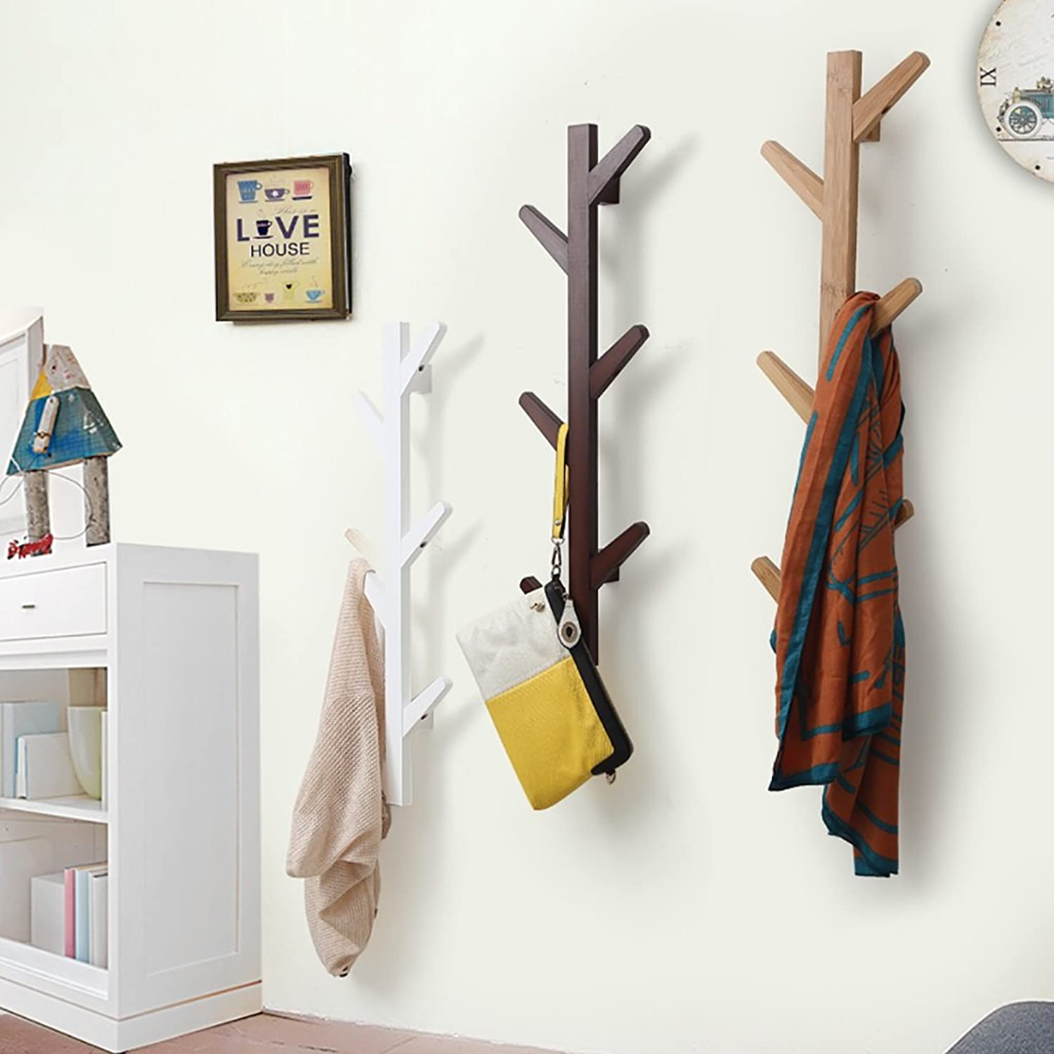 Creative Solid Wood Clothes Hook Living Room Simple Wall Decorative Clothes Hat Holder (color   Bamboo color)
