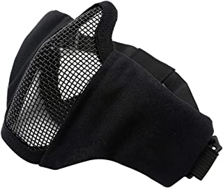 "PuddingStation Supplies for Tactical Airsoft Paintball 6"" Foldable Half Face Airsoft Mesh Mask CS Game Adjustable Military Tactical Protective Mesh Half Face Protection Mask (Black)"