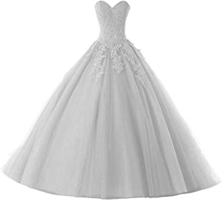 f63b4f14462d Still Waiting Women's Sweetheart Crystal Beading Lace Quinceanera Dresses  Long Appliques Pageant Prom Ball Gown C061