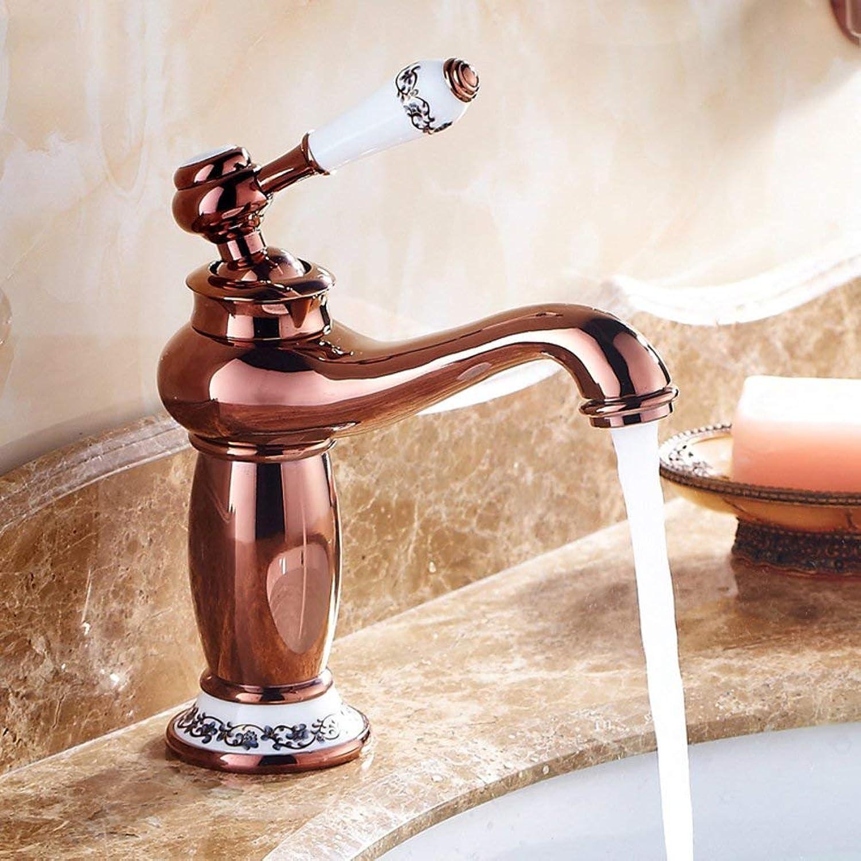 ZTMN Bad Waschbecken Wasserhahn Messing Keramik Griff Retro drehbar heies und kaltes Wasser Mischen-D