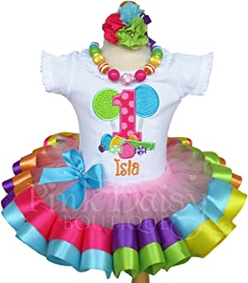 Girls Multi Color Candy Shoppe Birthday Outfit with Personalized Shirt and Ribbon Trim Tutu