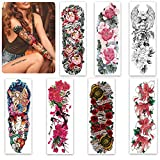 Aresvns Temporary Tattoos for Women Girls and Kids,Full Arm Fake Tattoo Stickers Flowers,Beautiful Realistic Sleeve Tattoos Waterproof and Long Lasting