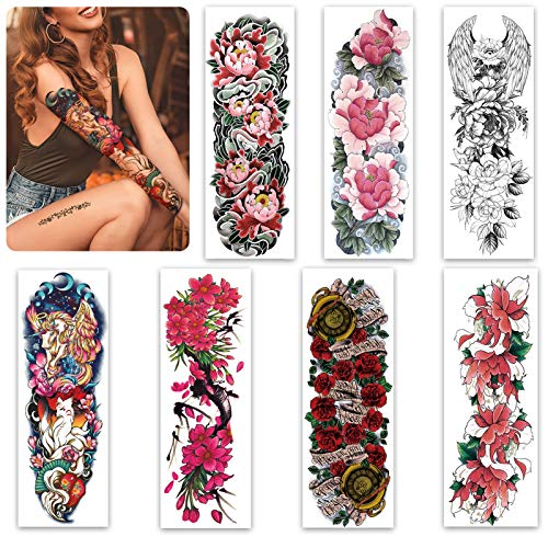 Sleeve Tattoo 7 Sheets for Women Teens Girl,Christmas Full Arm Leg Temporary Tattoo Flowers,Long-Lasting and Waterproof Body Art Realistic Tattoo Stickers