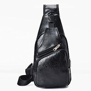 PU Leather Shoulder Bag, Crossbody Bag Sling Bag Backpack Honda Messenger with USB Charging Port for Travel, Hiking, Cycling