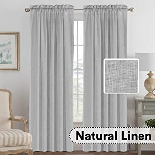 H.VERSAILTEX Rod Pocket Privacy Linen Curtains - 2 Pieces - Total Size 104 Inch Wide (52 Inch Each Panel) - 96 Inch Long - Elegant, Light Filtering Panel Drapes for Bedroom (52