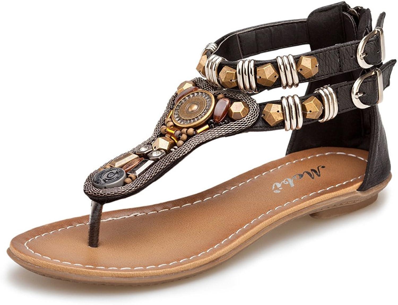 Navoku Womens Retro Zipper Leather Sandles Fashion Sandals
