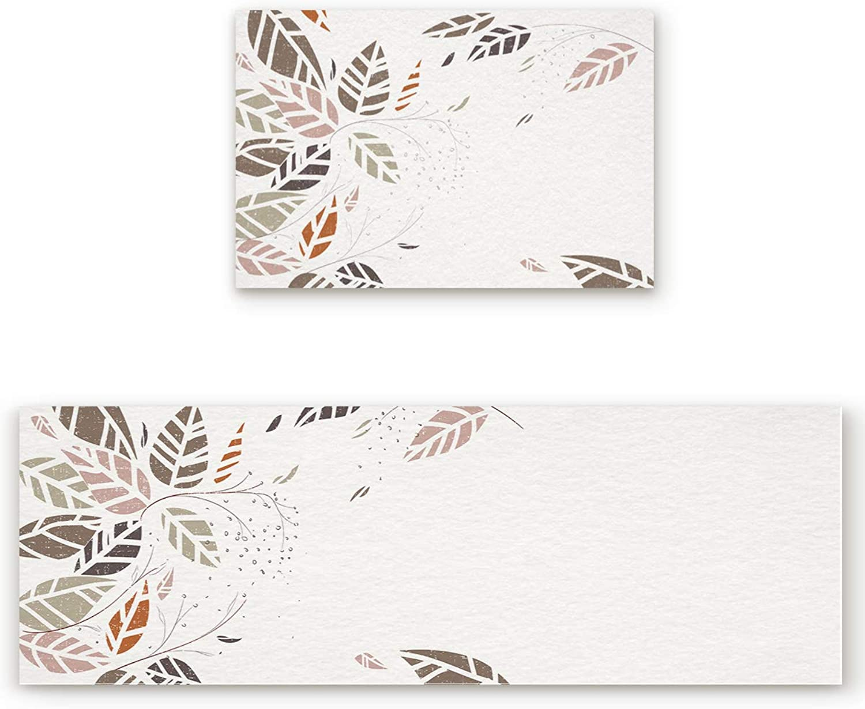 Savannan 2 Piece Non-Slip Kitchen Bathroom Entrance Mat Absorbent Durable Floor Doormat Runner Rug Set - Autumn Theme Hand-Drawn colorful Leaves
