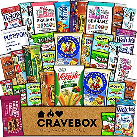 Health Shopping CraveBox Healthy Care Package (30 Count) Natural Food Bars Nuts Fruit Health Nutritious