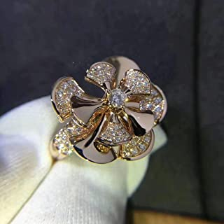 14k Rose Gold Divas Dream Ring Central Diamond & Pave Diamonds Engagement Wedding Ring in All Size