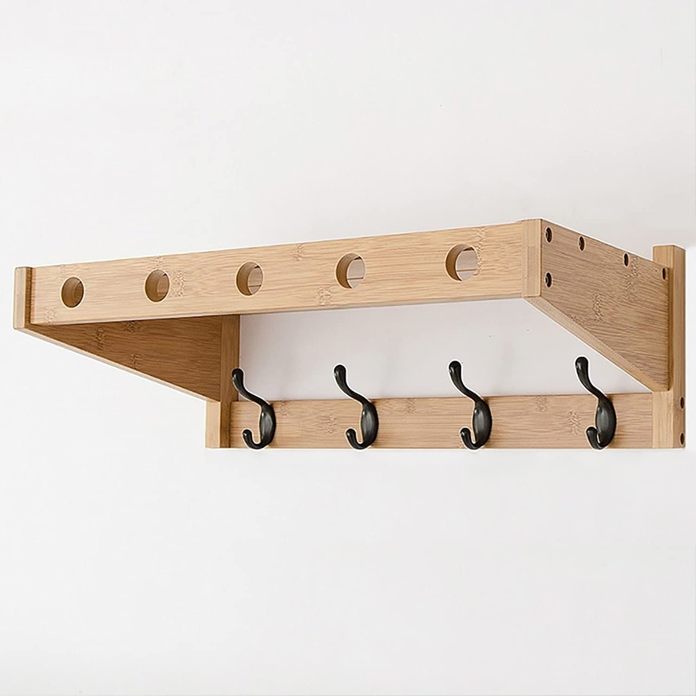 LXLA- Shelf Hangers Coat Rack Hook up Double Wood Bamboo Wall-Mounted (Available 4,5,6 Hooks, 52.5 65 78  30  18 cm) (Size   4 Hooks)