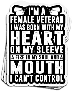 Lucky Star 3 PCs Stickers I'm A Female Veteran A Fire in My Soul A Mouth I Can't Control 4 × 3 Inch Die-Cut Wall Decals for Laptop Window
